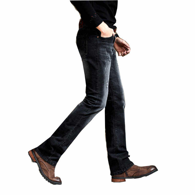 Men's Slim Boot Cut Semi-flared Jeans Ripped Business Casual Jeans Male Mid Waist Elastic Four Seasons Black Bell Bottom Jeans