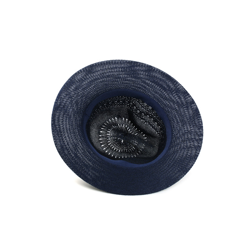 3116cca683c 2016 Summer style hollow knit hat Jazz hats Women men Panama Bowler Fedoras  Beach sunshade Long eaves Hats travel straw caps-in Fedoras from Apparel ...