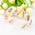 Special Holiday Gift Fire Amazing Morganite Siver Plated Open Bangles Russia Australia Wedding Bracelet Bangles