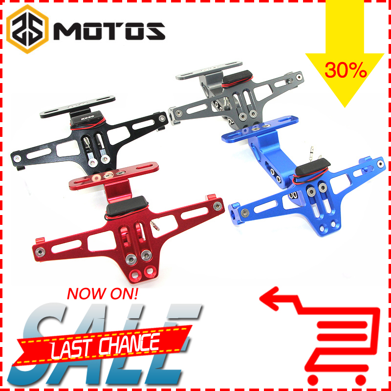 ZS MOTOS Universal Motorcycle Parts Adjustable Angle Aluminum License Number Plate Frame Holder Bracket For Honda Yamaha universal motorcycle adjustable angle aluminum license number plate frame holder bracket for ktm duke 200 390 sx f exc f 85 sx