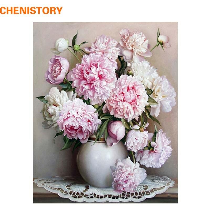 CHENISTORY Rosa Europa Blume DIY Malerei Durch Zahlen Acryl Farbe Durch Zahlen Handgemalte Ölgemälde Auf Leinwand Für Home Decor