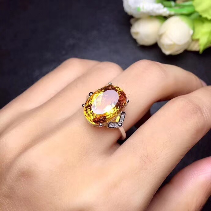 Здесь можно купить  Real Citrine ring Free shipping Natural citrine ring 925 sterling silver Gem size 8*10mm gem Fine yellow crystal jewelry  Ювелирные изделия и часы