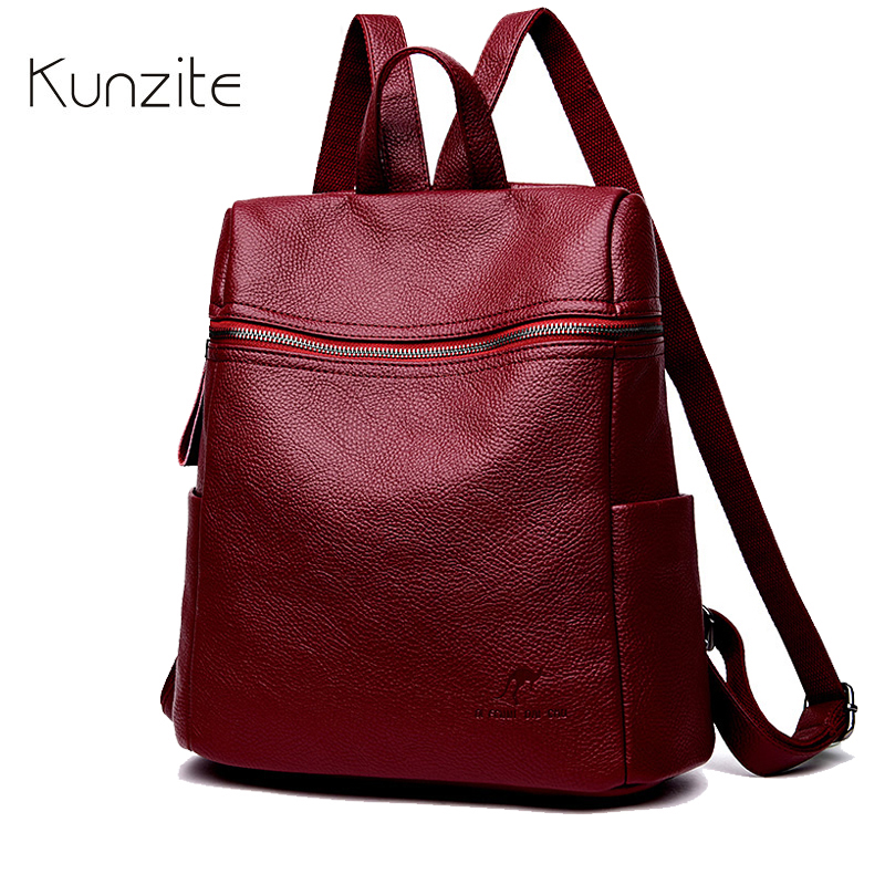 Kunzite Fashion Backpack Female Brand PU Leather Backpack Women Large Capacity Book bags Simple Shoulder Bags