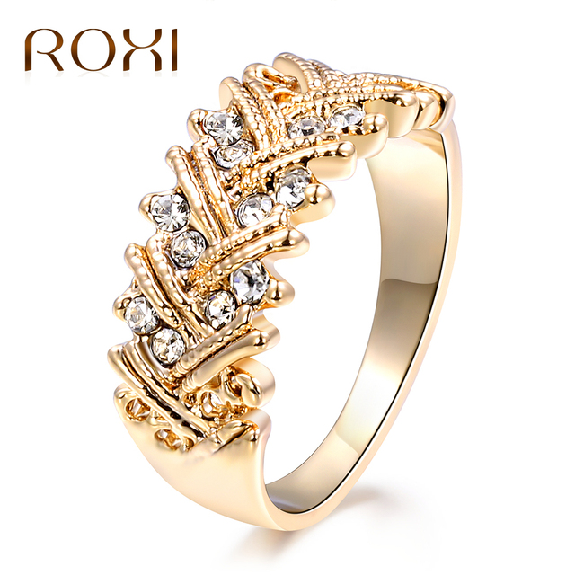 Roxi Cubic Zirconia Crystal Rings For Women Anillos 2018 Gold Color