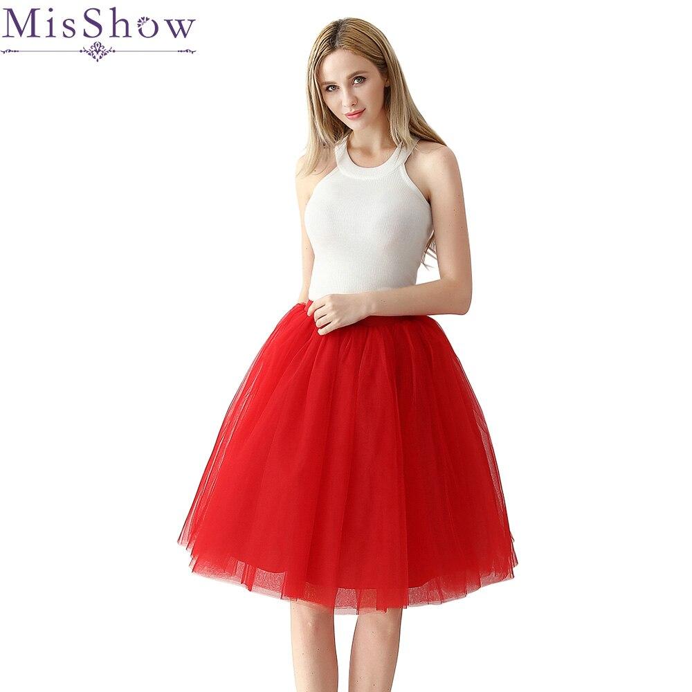 2019 Spring Cosplay red Petticoat Woman Underskirt 65CM Length Knee Short Wedding Petticoat 6 Layers Puffy Organza Evening Tutu