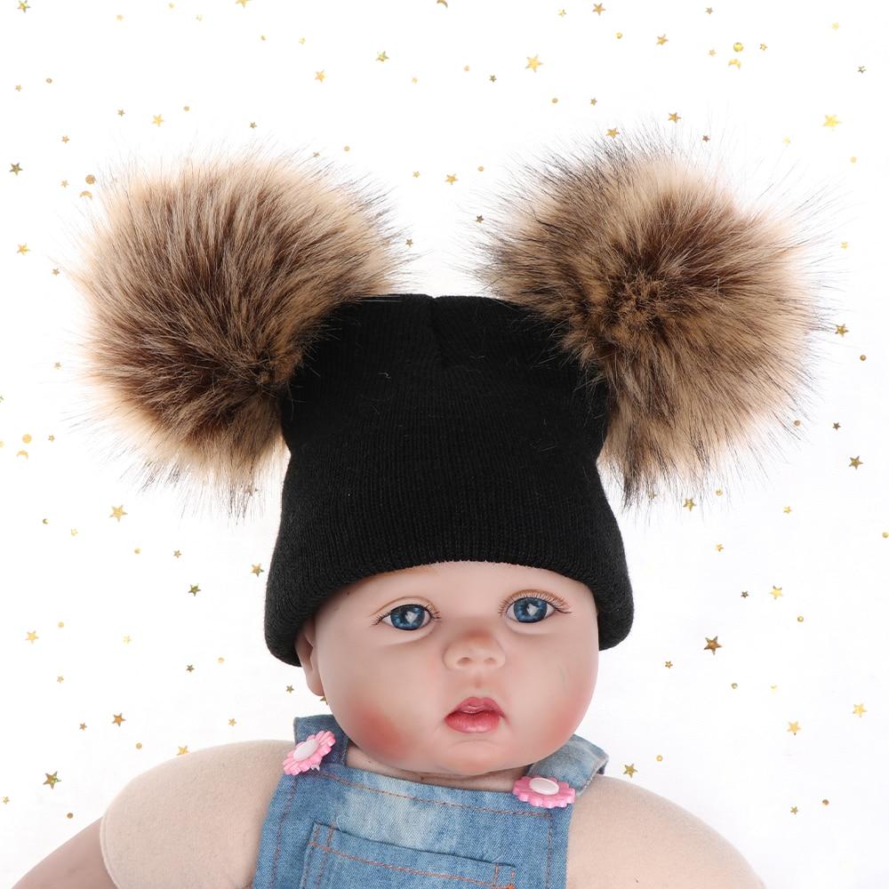 02480415bb6d Children Boy girl Winter Warm Knit Beanie Hat Winter Hat Double ...
