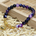 New fashion natural purple agate strand bracelet round beads 6mm semi-precious stone free shipping jewelry making 7.5inch B1922