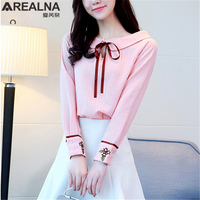 Tie Bow Blouse Women Kawaii Pink Peter Pan Collar Long Sleeve Korean Fashion Clothing Embroidery Flowers Shirts Ladies Cute Tops