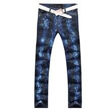 2017 новая мода прямой ногой джинсы длинные мужчины мужской печатные джинсовые брюки прохладный хлопок дизайнер хорошее качество бренда брюки MJB010
