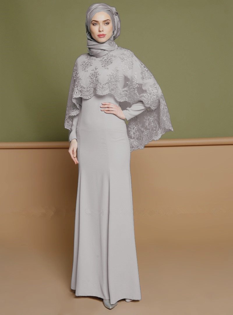 pink Muslim piece Suit Islamic Maxi Abaya Kaftan Two Gray Dress Kimono Long Embroidery Ramadan Jubah Hot Robe Cape Elegant UwXq11
