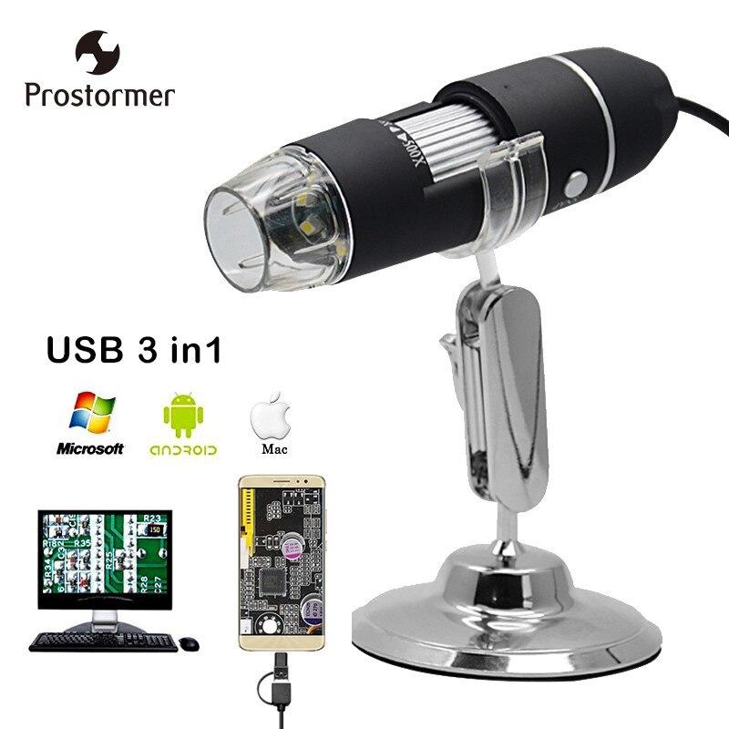 Prostormer USB microscope Électronique microscope Mac/Fenêtre 7 8 10/Android/typec microscopio Endoscope led Caméra Loupe verre