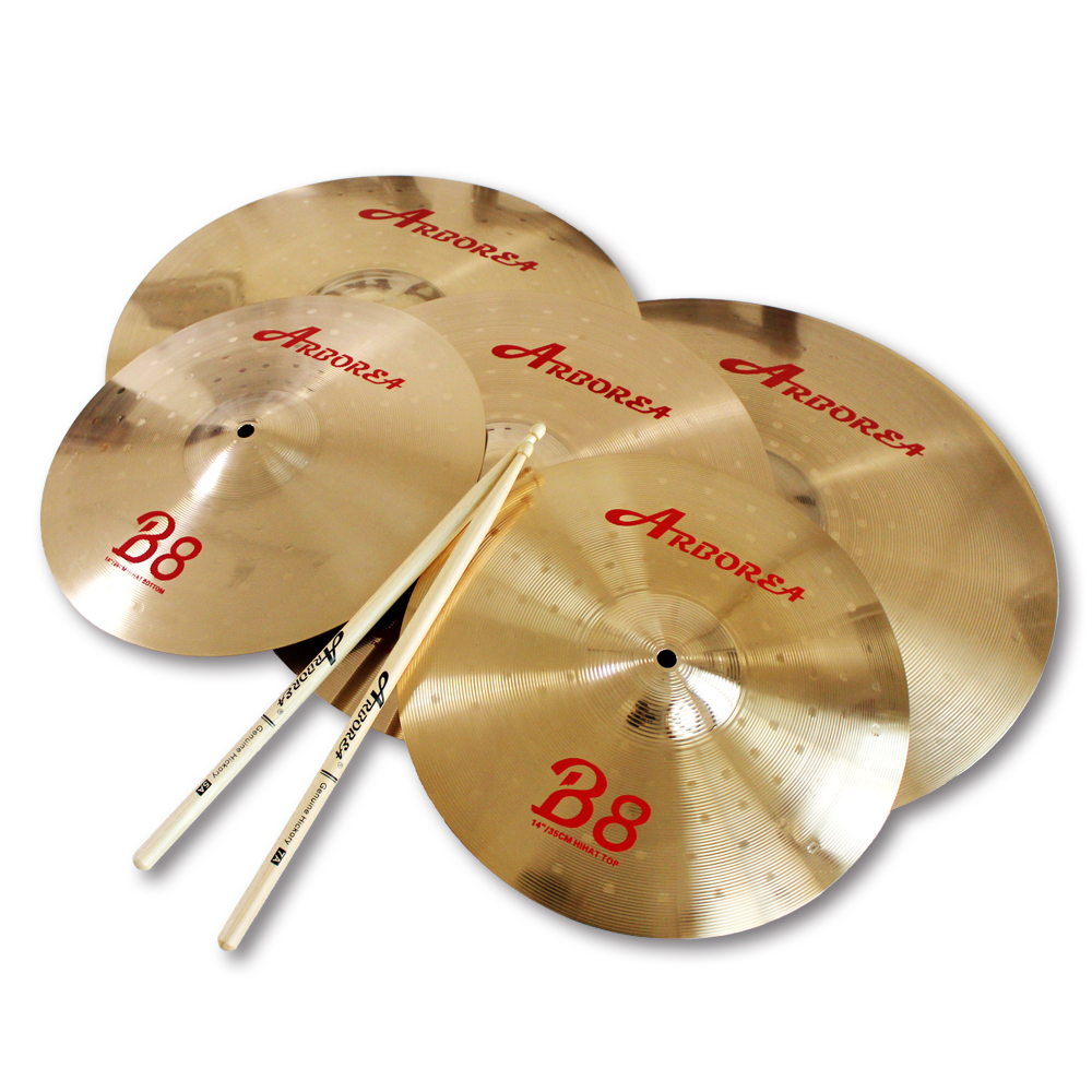 цена на Best practice cymbal Arborea B8 series cymbal set: 14 hihat+16crash+20ride+cymbal bag