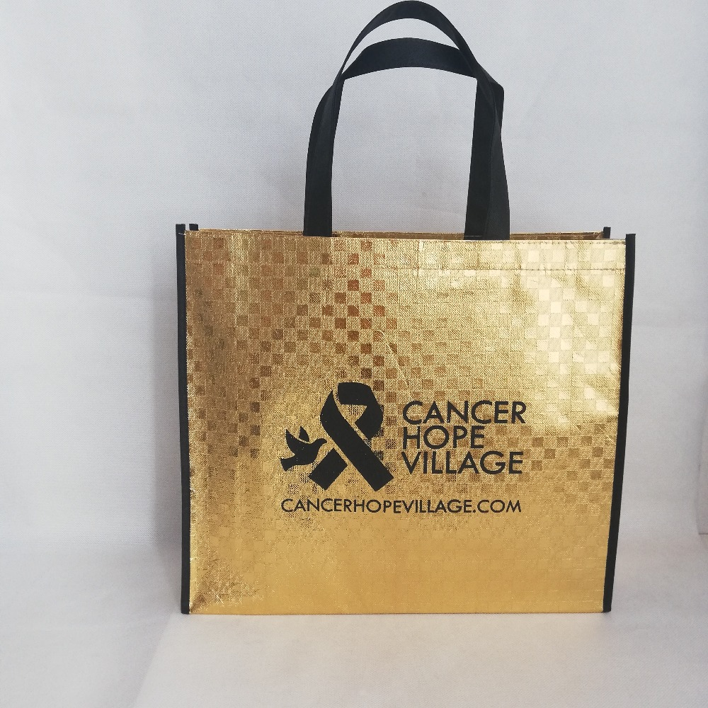 500pcs lot 35HX40X10cm Custom Logo Laminated Gold Metallic Laser Non woven Shoulder Shopping Bags