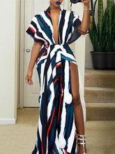 2019 Summer Women Elegant Fashion Vintage Prom Contrast Color Maxi Dress Female Colorblock Tie Dye Thigh Slit Party Dress