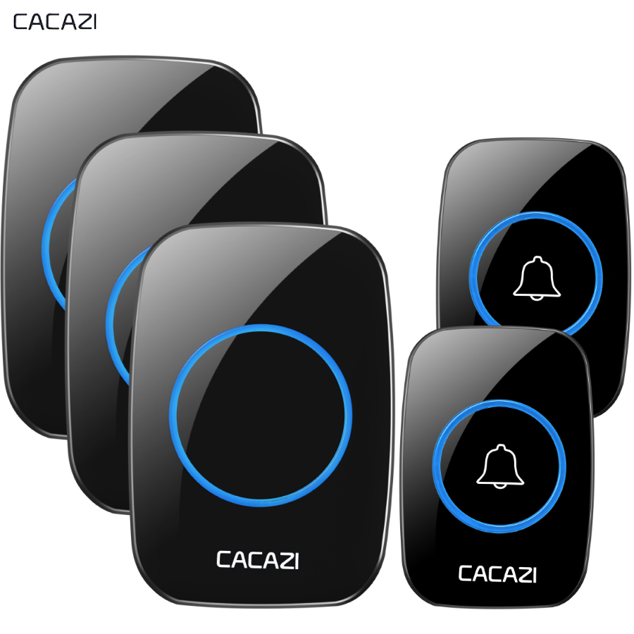 CACAZI New Wireless Doorbell Waterproof 300M Remote EU AU UK US Plug smart Door Bell Chime battery 2 button 3 receiver 110V 220V kinetic cordless smart home doorbell 2 button and 1 chime battery free button waterproof eu us uk wireless door bell