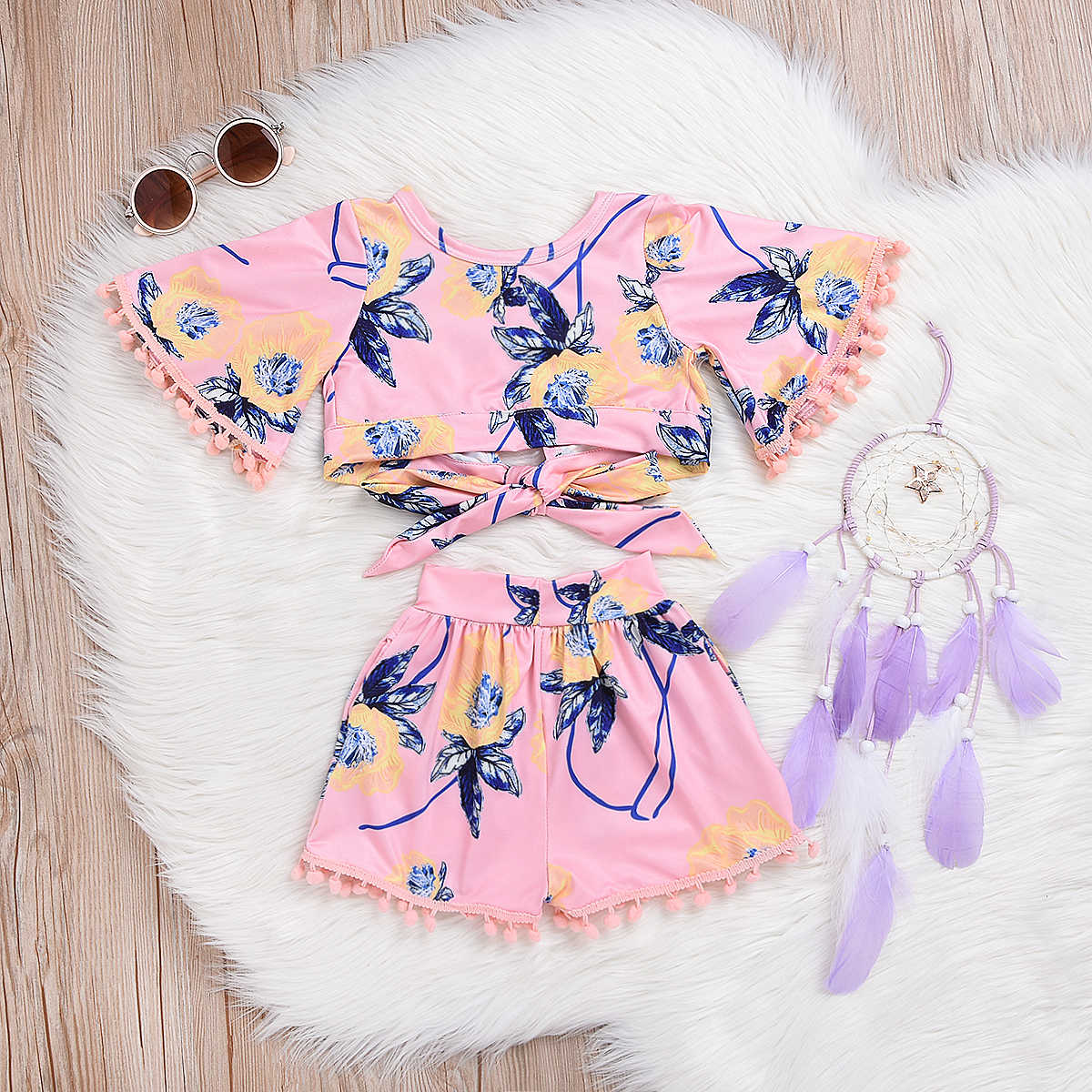 Leuke Kids Baby Meisjes Hawaii Outfits Kleding T-shirt Tops Jurk + Lange Broek 2 STKS Set