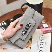 Women Frosted Trifold wallet Leather Wallets Hasp Envelope Wallet Credit Card Holder Clutch Woman Luxury Female pur