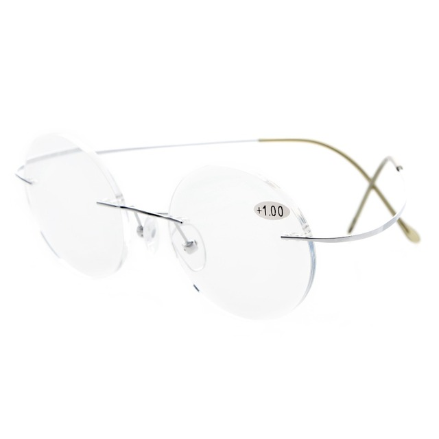 52b08c769a1 R15026 Eyekepper Titanium Rimless Round Reading Glasses Circle Reader +0.0 0.5 0.75