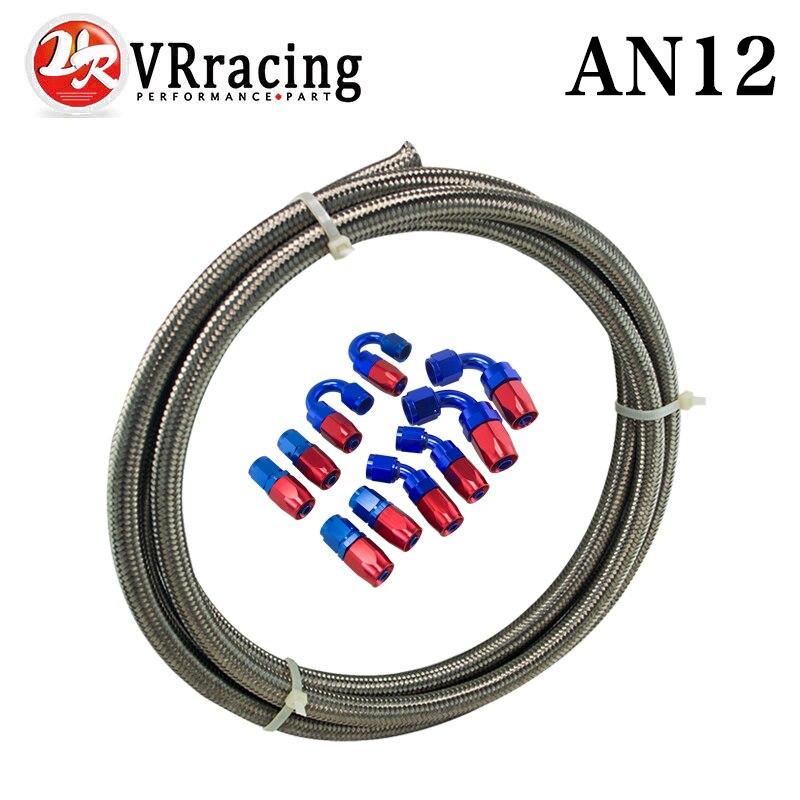 ВР - Ан-12 датчик / стальной оплетке 5м Ан-12 гоночный нержавеющей шланг топливный масло линия + 12AN Сторона 12-шланг конец адаптер КИТ