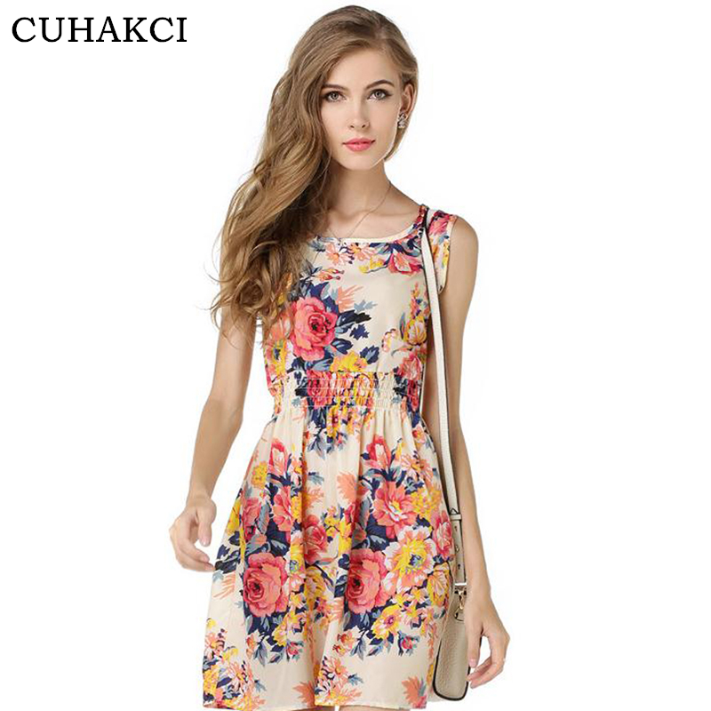 CUHAKCI Woman Beach Dress Summer Boho Print Clothes Sleeveless Party Dress Casual Short Sundress Plus Size Floral Dress S092 2