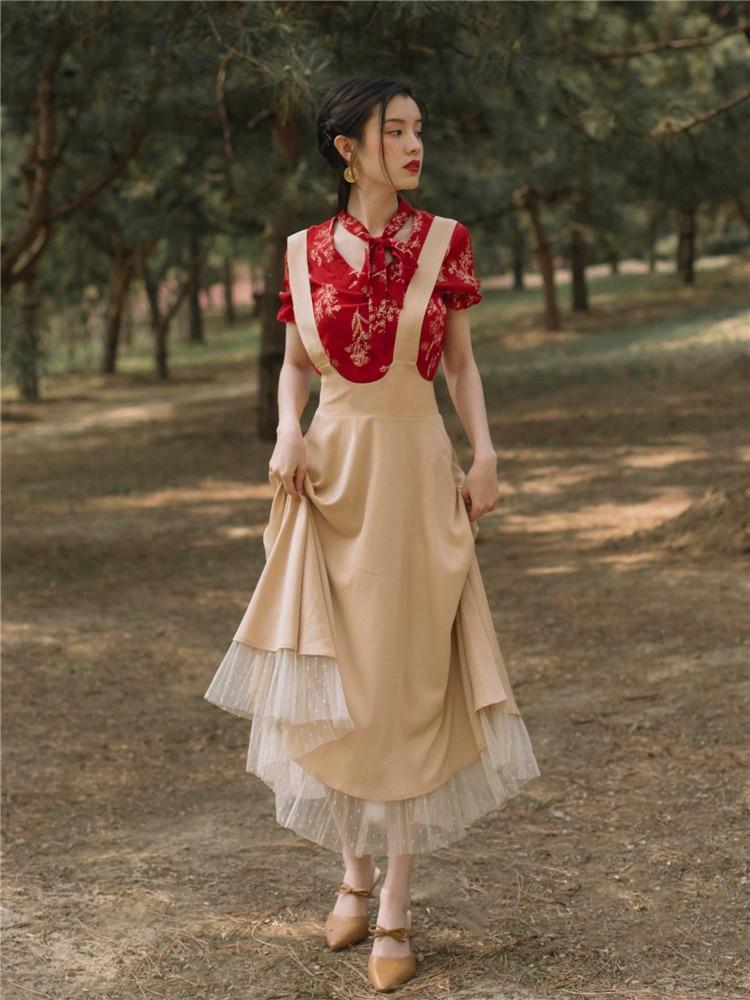 2019 nouveau mode femmes deux pièces ensemble rouge imprimé chemise + français rétro bretelles jupe deux pièces