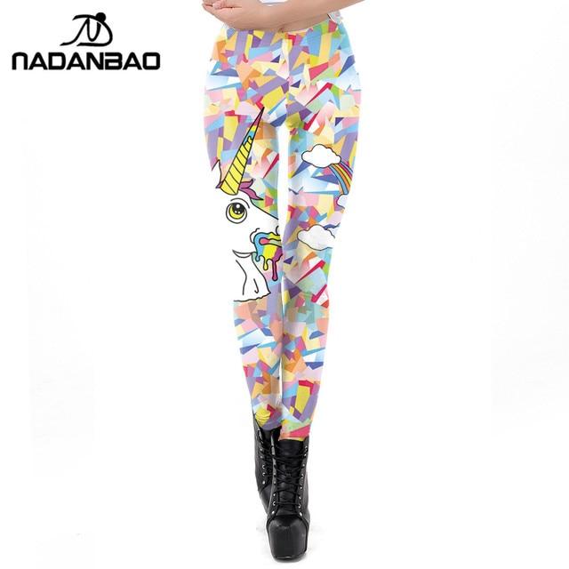 90cbdb80036a08 NADANBAO 2019 Spring 3D Unicorn Leggings Women Printed Colourful Workout  Legging Flexible Fitness Leggins Puls Size Legins Pants