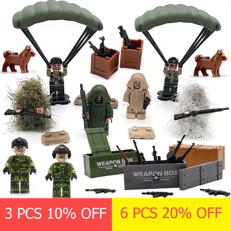 Military SWAT PUBG Sniper Guns Ghillie Suits Camouflage Clothes Parts Compatible Legoingly Army ww2 Soldier Building Blocks Toys