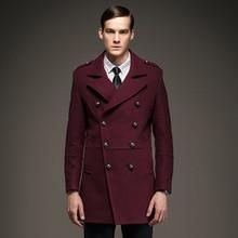 7 цвет высокое качество 2017 новый зима 50% шерстяное пальто мужчины Военная Epaulet Двойной Брестед Мужчины Куртка Лонг Casaco Masculino A1488
