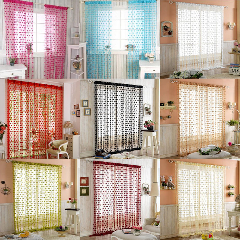 String Curtain For Living Room Door Tassel Screen Room Divider Window Blind Drape Heart Panel