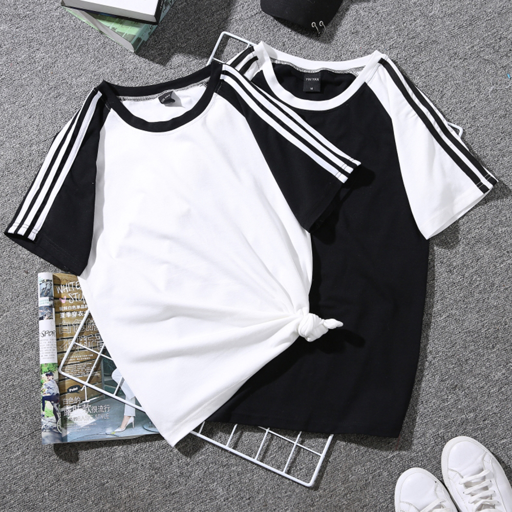 Women Short Sleeve t shirt Print Couple Tees harajuku Students Plus Size Graphic Striped T-shirt 2018 poleras mujer