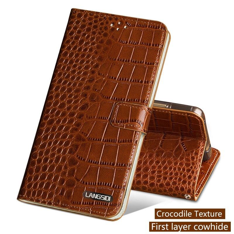 Téléphone Cas Pour Xiao mi Pocophone F1 mi 8 A1 A2 Lite mi x 2 s Max 3 peau de vache D'origine crocodlie Texture Pour Rouge mi Note 5 Couverture Arrière