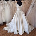 Vintage Elegant Court Train Satin Wedding Dresses 2017 A Line V neck Beads Pleat Ruched Bridal Wedding Gowns HS298