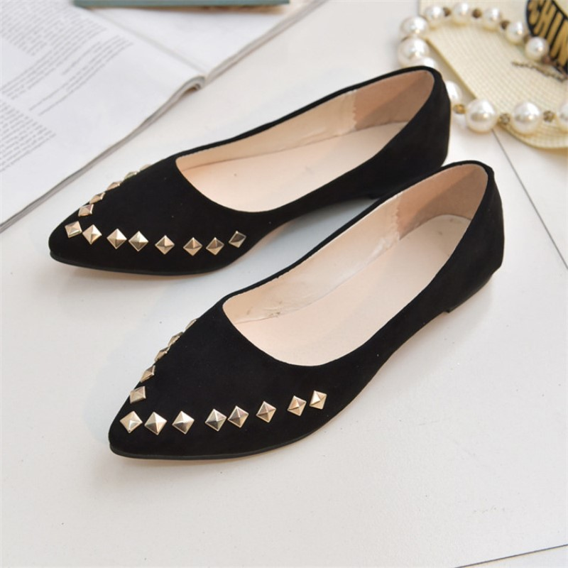 NIS Women Ballerina Flats, Black Rivet Suede Pointed Toe Loafers, Ladies Ballet Casual Slip on Shoes, Ballerias Zapatos Mujer 2017 spring summer new women casual pointed toe loafers flats ballet ballerina flat shoes plus size 34 43