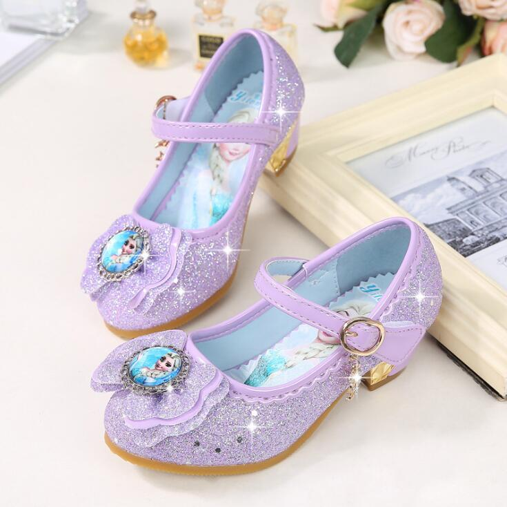 Image 3 - New Children Leather Sandals Child High Heels Girls Princess Summer Elsa Shoes Chaussure Enfants Sandals Party Anna Shoes-in Sneakers from Mother & Kids