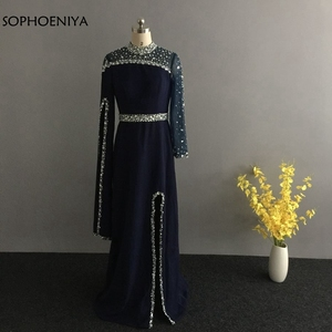 Image 2 - Robe de soirée forme sirène, col haut, manches longues, noire, kaftan, robe doccasion, style dubaï, nouveauté