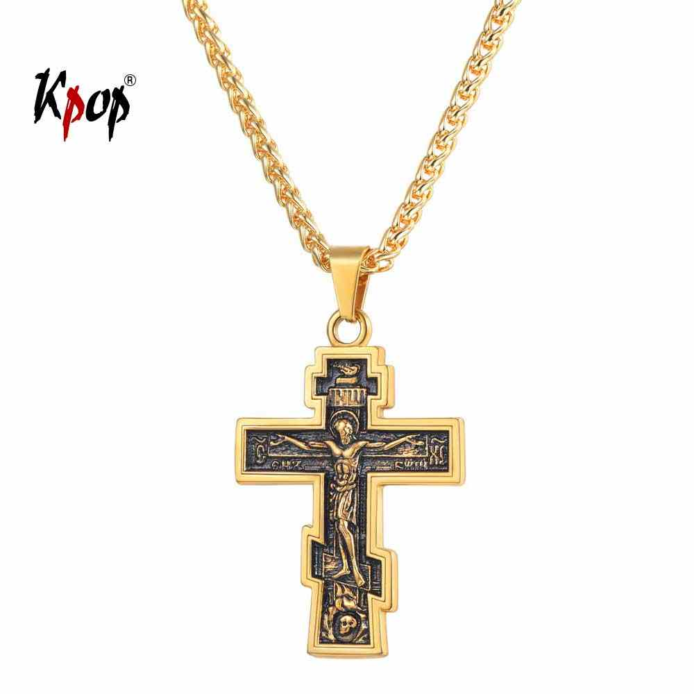 Kpop Cross Necklace Orthodox Church Christian Jewelry Stainless Steel Gold Color INRI Crucifix Cross Pendant Necklace Men P3240