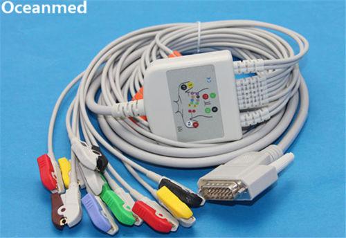 Câble EKG ECG Compatible Nihon Kohden 9130 10 fils pince/Clip IEC, câble électrocardiogramme 12 canaux
