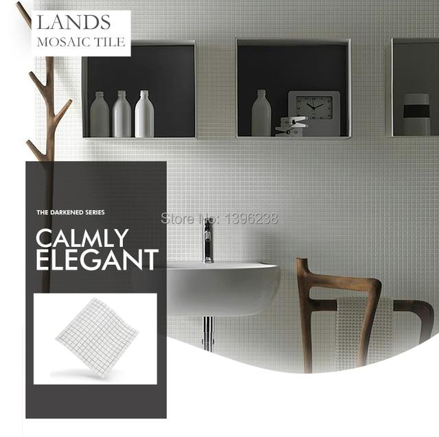 White Crystal Glass Mosaic Tile Wall Tiles Kitchen Backsplash Bath