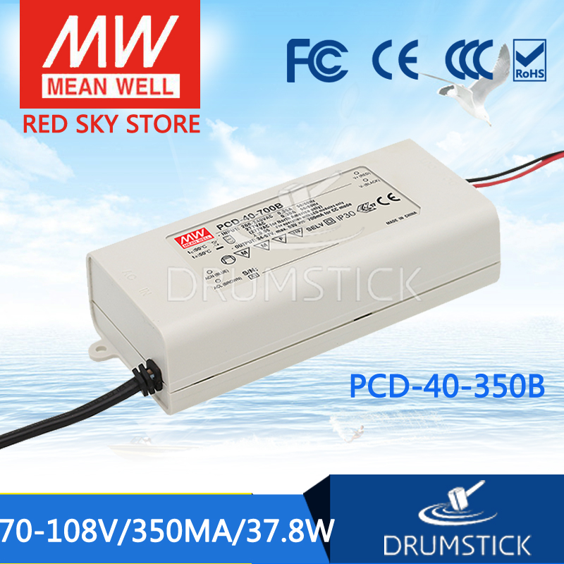 100% Original MEAN WELL PCD-40-350B 108V 350mA meanwell PCD-40 108V 37.8W Single Output LED Switching Power Supply [Real1] original meanwell nes 350 36 ac to dc single output 350w 9 7a 36v mean well power supply nes 350