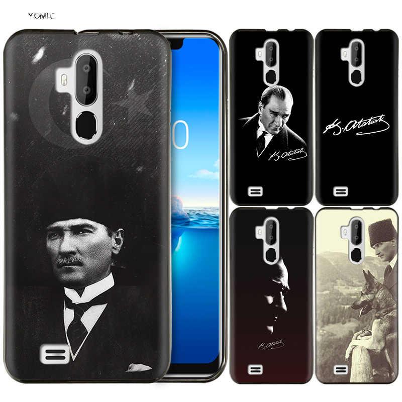 Coque Silicone Coque de téléphone portable Coque pour Oukitel C12 PRO C12Pro noir sombre coques dessin animé turquie Mustafa Kemal Ataturk