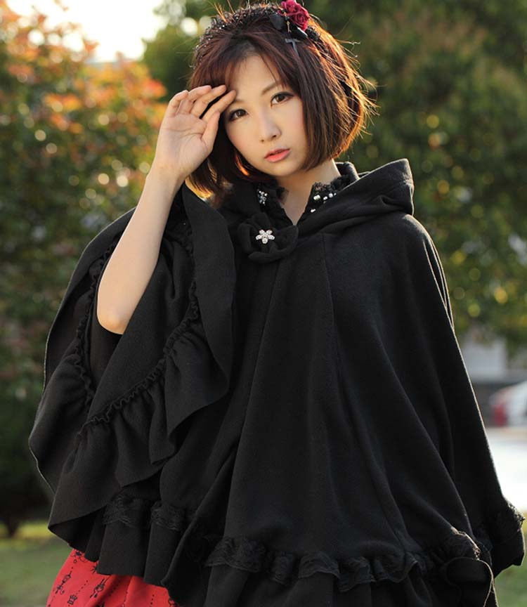 Sweet Black Winter Lolita Hooded Poncho Jacket for Lady with Lace Detailing Free Shipping