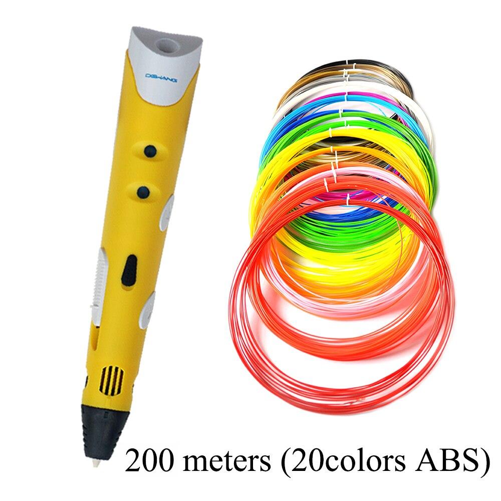 DEWANG Factory 3D Printer Pen 3D Printing Pen Kids Drawing Pen Free ABS Filament 100 200 Meters 3D Toy Model Pen