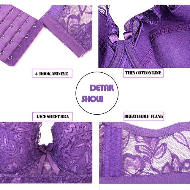 2019 Plus Large Big Size Lace Bras for Women's Bralette bh Underwear Sexy Lingerie Super Push up Brassiere Girl Minimizer Deep V 5