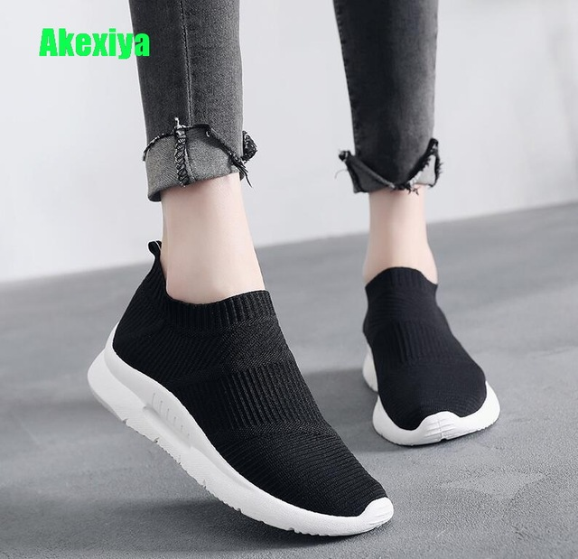 dd3bce40c271 Akexiya Red Black Woman Sneakers Socks Slip on Mesh Flats Platform Shoes  For Women Trainers Fashion Sock Casaul Shoes Loafer