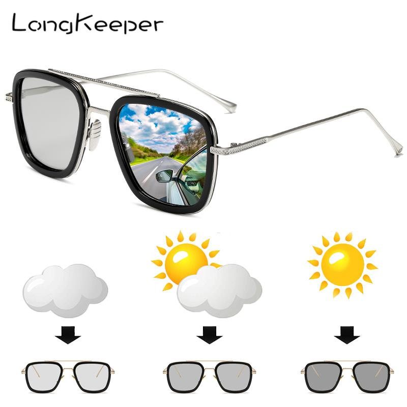 LongKeeper Classic Photochromic Sun Glassses Men Tony Stark Iron Man Metal Goggle Women Chameleon Pilot Square Sunglasses UV400