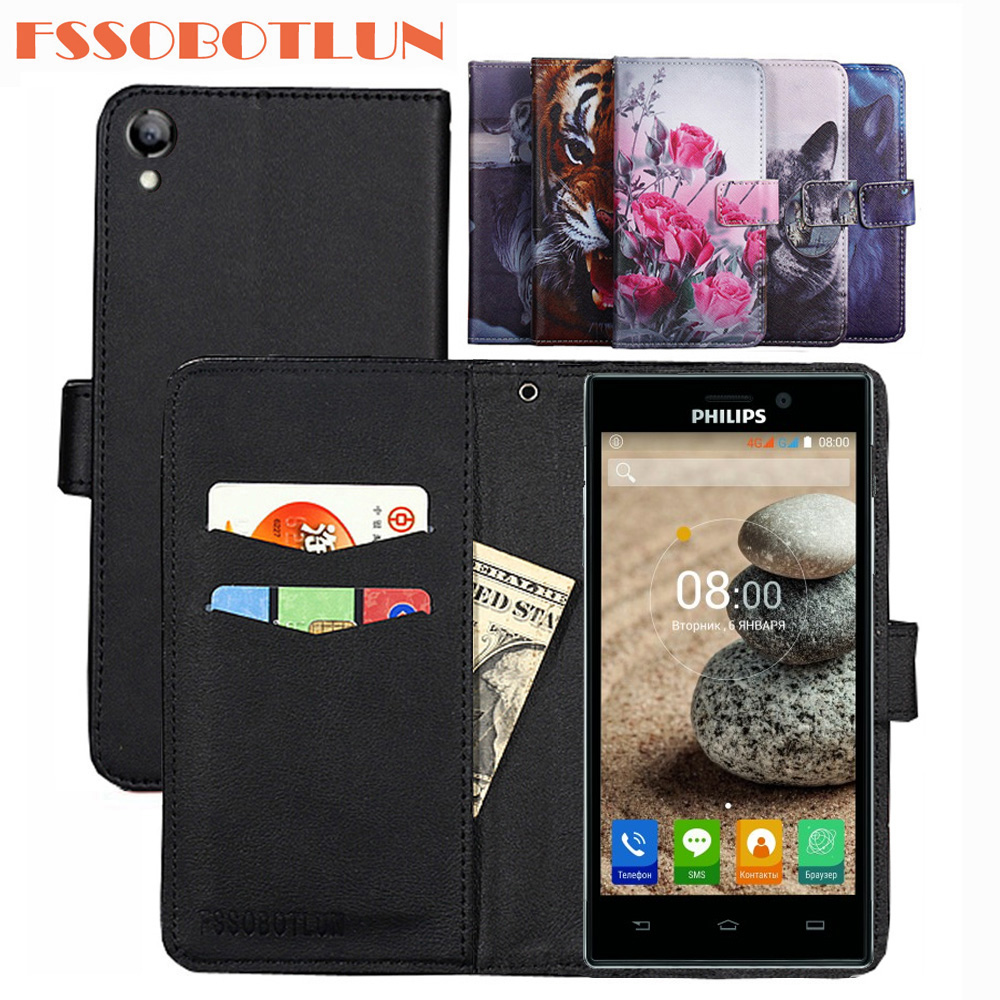 FSSOBOTLUN For <font><b>Philips</b></font> Xenium <font><b>V787</b></font> PU Leather Retro Flip Cover Magnetic Fashion Wallet Case Kickstand Strap For <font><b>Philips</b></font> <font><b>V787</b></font> image