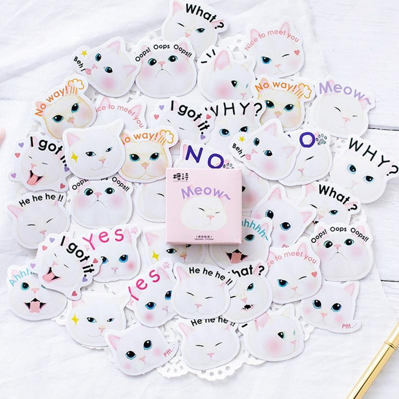 45pcs/Box Kawaii Cartoon Cat Sticker Scrapbooking Creative Diy Bullet Journal Decorative Adhesive Label Stickers Cute Stationery