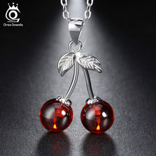 925 Sterling Silver Red Agate Cherry Pendant Necklaces for Women Genuine Silver Jewelry Gift SN03