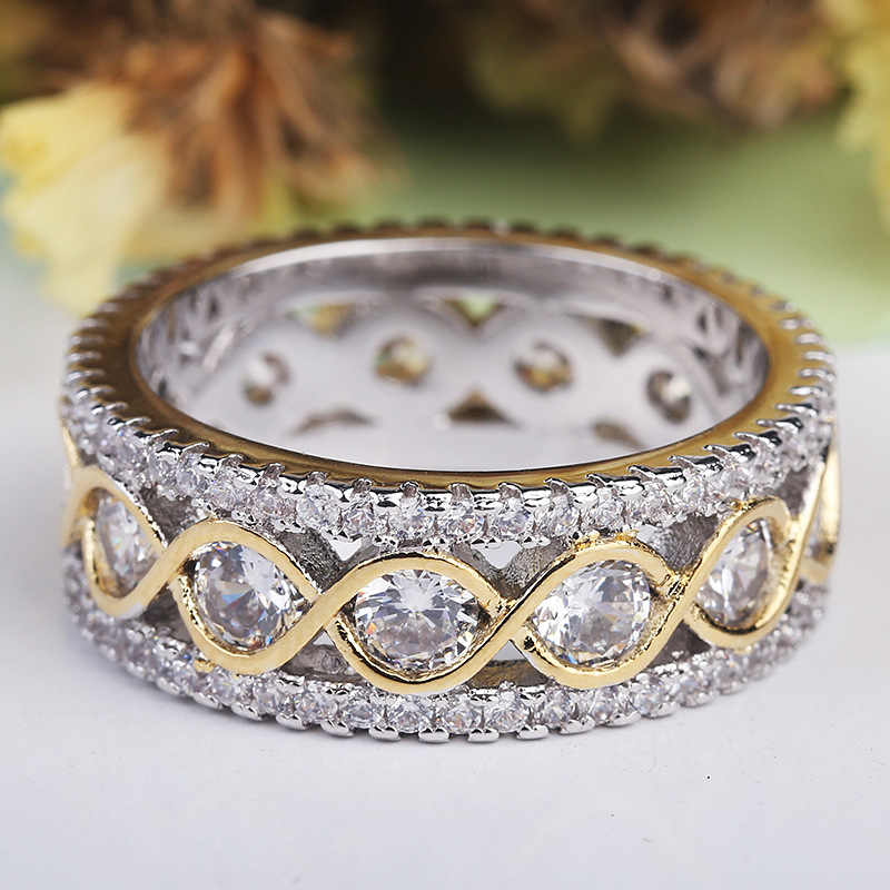 YANHUI New Fashion Full Round CZ Zircon Ring 925 Sterling Silver Engagement Wedding Band Ring for Women Jewelry Size 5-10 KR0148