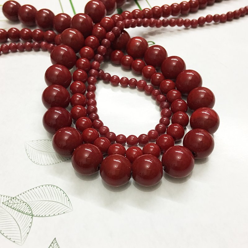 8mm bijoux smooth red color Gem natural stone jewelry findings spacers loose beads long necklace earring bracelet Charms making